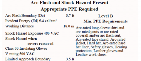 Arc Flash Warning Label